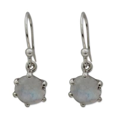 Moonstone dangle earrings, 'Romance' - Sterling Silver and Moonstone Dangle Earrings