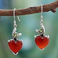Heart dangle earrings, 'A Sigh of Romance' - Heart jewellery Earrings with Red Onyx and Peridot