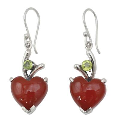 Heart Jewelry Earrings with Red Onyx and Peridot