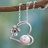 Cultured pearl and garnet heart necklace, 'Heart of Romance' - Heart Shaped Sterling Silver and Pearl Necklace