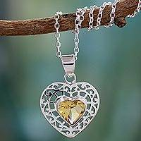 Citrine heart necklace, 'Mughal Romance' - Citrine heart necklace