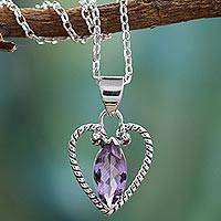 Amethyst heart necklace, 'Mystic Love'