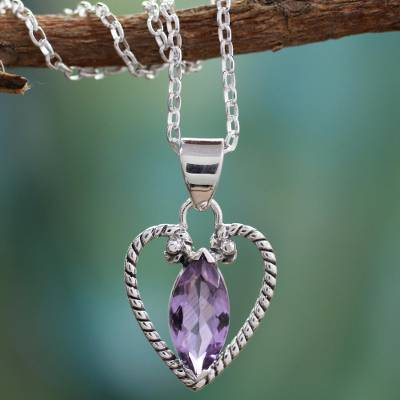 Amethyst heart necklace, 'Mystic Love' - Sterling Silver and Amethyst Necklace Heart Jewelry