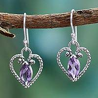 Amethyst heart earrings, 'Mystic Love' - Amethyst Heart Earrings in Sterling Silver from India