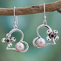 Cultured pearl and garnet heart earrings, 'Heart of Romance' - Hearts and Flowers Earrings with Pearls Garnets and Silver