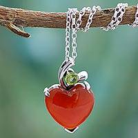 Heart pendant necklace, 'A Sigh of Romance'
