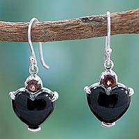 Onyx and garnet heart earrings, 'Goth Love' - Onyx Heart Earrings with Garnet and Sterling Silver