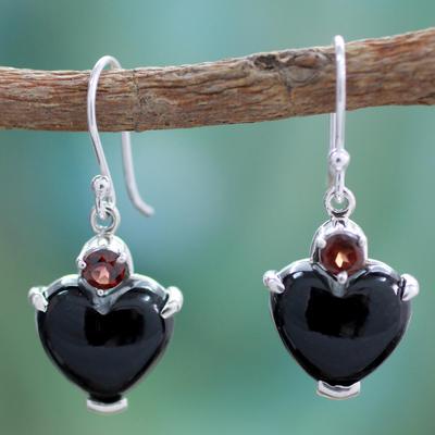 Onyx and garnet heart earrings, 'Goth Love' - Onyx Heart Earrings with Garnet and Sterling Silver