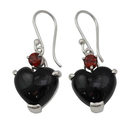 Onyx Heart Earrings with Garnet and Sterling Silver