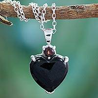 Onyx and garnet heart necklace, 'Goth Love' - Onyx and garnet heart necklace