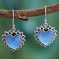 Sterling silver heart earrings, 'Harmonious Hearts' - Heart Shaped Sterling Silver and Chalcedony Earrings