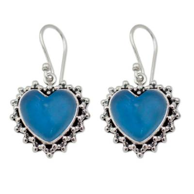 Heart Shaped Sterling Silver and Chalcedony Earrings