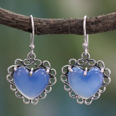 Sterling silver heart earrings, 'Harmony of Love' - Fair Trade jewellery Sterling Silver with Chalcedony Hearts