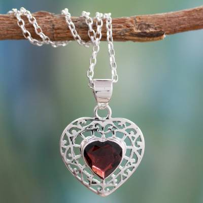 Garnet heart necklace, 'Mughal Romance' - Garnet and Silver Heart Pendant Necklace