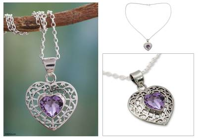 Amethyst heart necklace, 'Mughal Romance' - Amethyst Heart Necklace from India