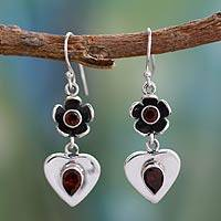 Garnet heart earrings, 'Love's Bouquet' - Garnet heart earrings