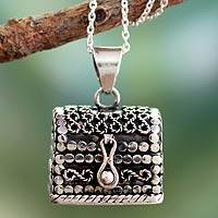 Sterling silver locket necklace, 'Prayer Chest'