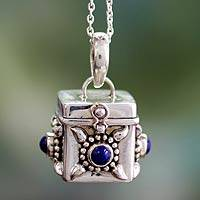 Lapis lazuli locket necklace, 'Royal Prayer' - Unique Indian Sterling Silver Locket Pendant