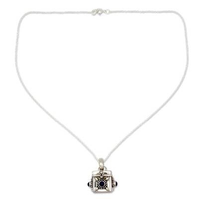 Lapis lazuli locket necklace, 'Royal Prayer' - Fair Trade Sterling Silver and Lapis Lazuli Locket Necklace