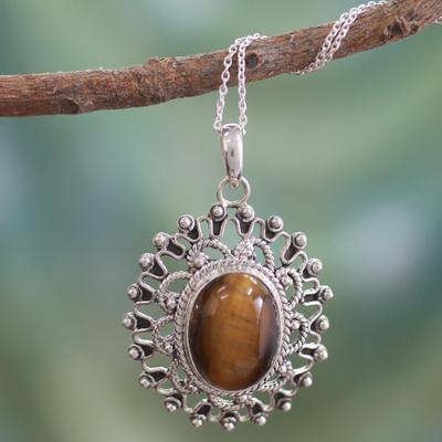 Tiger's eye pendant necklace, 'Tawny Sun' - Hand Crafted Sterling Silver and Tigers Eye Pendant Necklace