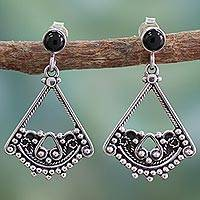 Onyx dangle earrings, 'Whispers of Love' - Onyx dangle earrings