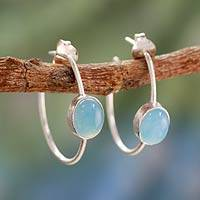 Chalcedony half hoop earrings, 'Contemporary' - Unique Sterling Silver and Chalcedony Earrings