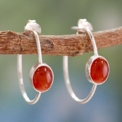 Onyx half hoop earrings, 'Contemporary Red' - Modern Minimalist Red Onyx Earrings