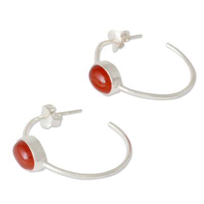 Modern Minimalist Red Onyx Earrings
