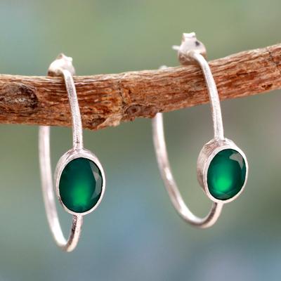 Onyx half hoop earrings, 'Contemporary Green' - Modern Minimalist Green Onyx Earrings
