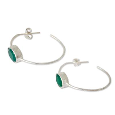 Modern Minimalist Green Onyx Earrings