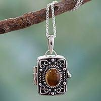 Citrine locket pendant necklace, 'Secret Prayer' - Sterling Silver Locket with Citrine Stone