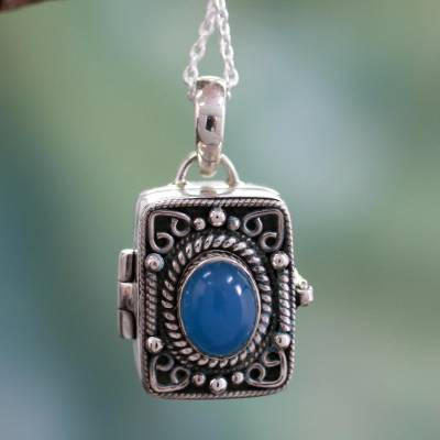 Chalcedony locket pendant necklace, 'Secret Prayer' - Hand Made Sterling Silver and Chalcedony Locket Necklace