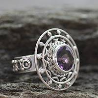 Amethyst cocktail ring, 'Delhi Radiance' - Amethyst cocktail ring