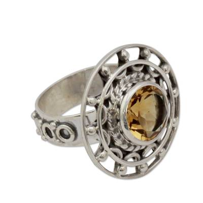 Sterling Silver Cocktail Ring with Citrine