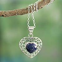 Lapis lazuli heart necklace, 'Mughal Romance' - Heart Shaped Sterling Silver and Lapis Lazuli Necklace