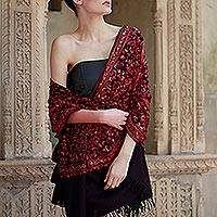 Wool shawl, 'Radiant Paisley' - Embroidered Wool Shawl Indian Wrap