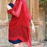 Silk shawl, 'Scarlet Serenade' - Fair Trade Indian Geometric Silk Patterned Shawl