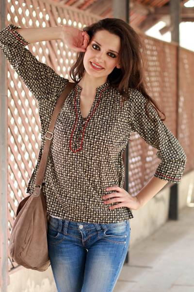 Cotton tunic, 'Midnight Jazz' - Cotton Patterned Tunic Top Block Printed by Hand