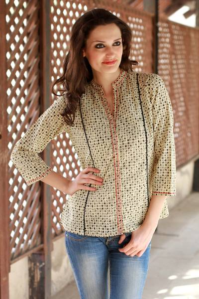 Cotton tunic, 'Morning Joy' - Hand Made Cotton Embroidered Tunic Top from India