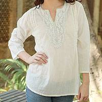 Cotton tunic, 'White Princess' - Cotton Tunic Top from India