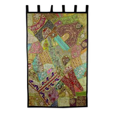 Cotton wall hanging, 'Jewels of India' - Gujarati Cotton Wall Hanging