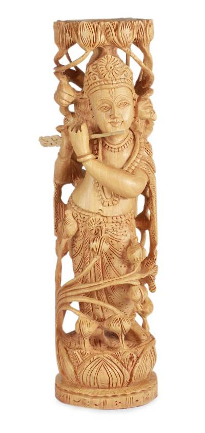 Wood sculpture, 'Song of Krishna' - Handmade Hinduism Wood Sculpture