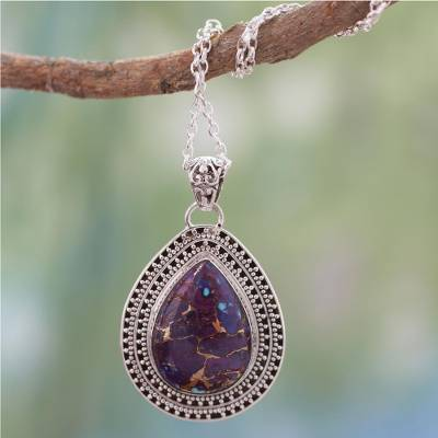 Sterling silver pendant necklace, 'Forest Secrets' - Purple Turquoise Necklace with Sterling Silver from India
