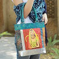 Leather shoulder bag, 'Rajasthani Lady' - Folk Art Leather Shoulder Bag from India