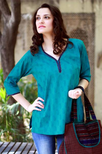 5fa20acfc9914a Beaded cotton tunic, 'Turquoise in Delhi' - Cotton Tunic Top Embellished  Blouse Block