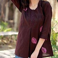 Beaded cotton tunic, 'Coffee Rose' - Artisan Crafted Cotton Embellished Solid Tunic Top