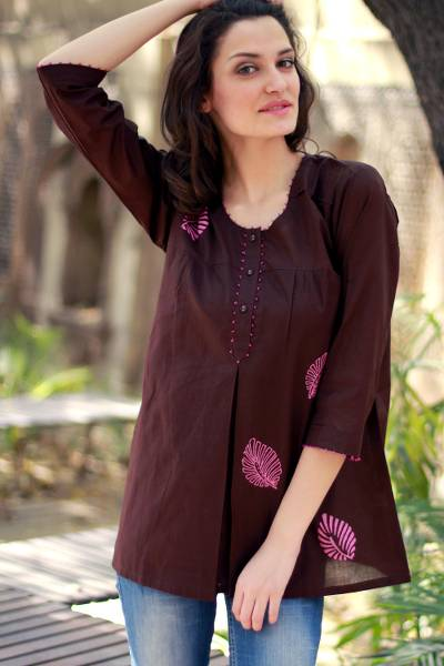 Beaded cotton tunic, Coffee Rose