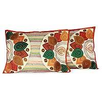Applique cushion covers, 'Spice Islands' (pair) - Applique cushion covers (Pair)