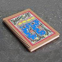 Madhubani journal, 'Elephant Duet' - Madhubani painting journal