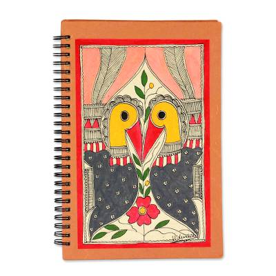 Madhubani journal, 'Peacock Kiss' - Madhubani painting journal